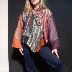 1990's metallic patchwork cape coat